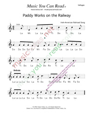 "Click to Enlarge: ""Paddy Works on the Railway,"" Solfeggio Format"