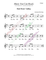 "Click to Enlarge: ""Red River Valley,"" Solfeggio Format"