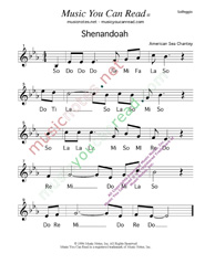 "Click to Enlarge: ""Shenandoah,"" Solfeggio Format"
