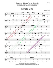 "Click to enlarge: ""Simple Gifts,"" Beats Format"
