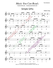 "Click to Enlarge: ""Simple Gifts,"" Pitch Number Format"