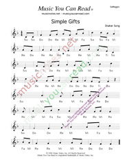 "Click to Enlarge: ""Simple Gifts,"" Solfeggio Format"
