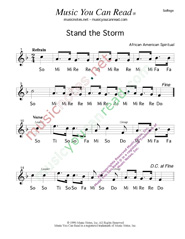 "Click to Enlarge: ""Stand the Storm,"" Solfeggio Format"