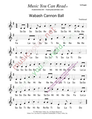 "Click to Enlarge: ""Wabash Cannon Ball,"" Solfeggio Format"