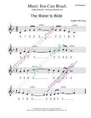 "Click to Enlarge: ""The Water Is Wide,"" Pitch Number Format"