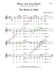 "Click to Enlarge: ""The Water Is Wide,"" Rhythm Format"