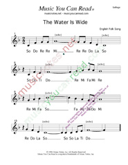 "Click to Enlarge: ""The Water Is Wide,"" Solfeggio Format"
