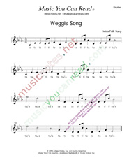 "Click to Enlarge: ""Weggis Song,"" Rhythm Format"