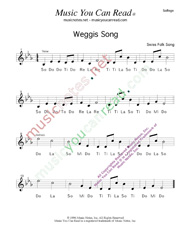 "Click to Enlarge: ""Weggis Song,"" Solfeggio Format"