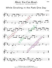 """While Strolling in the Park One Day,"" Music Format"