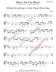 "Click to Enlarge: ""While Strolling in the Park One Day,"" Pitch Number Format"