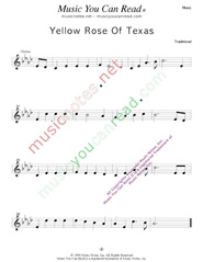 """Yellow Rose of Texas,"" Music Format"
