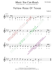 "Click to Enlarge: ""Yellow Rose of Texas,"" Pitch Number Format"