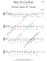 "Click to Enlarge: ""Yellow Rose of Texas,"" Rhythm Format"