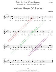 "Click to Enlarge: ""Yellow Rose of Texas,"" Solfeggio Format"