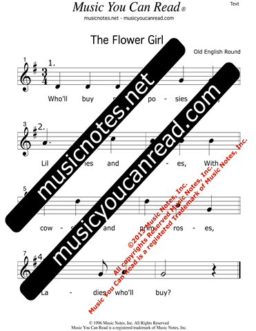 """The Flower Girl"" Text Format"
