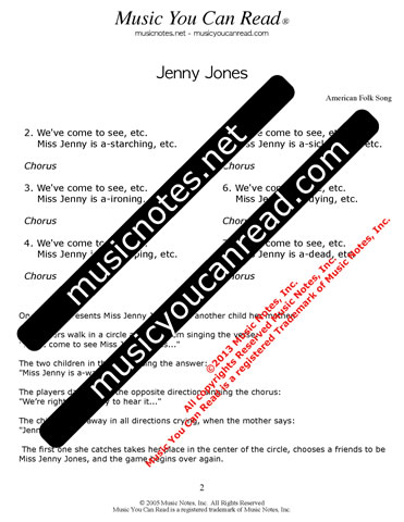 """Jenny Jones"" Lyrics, Text Format"