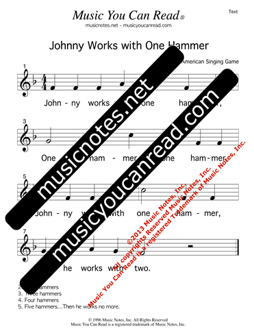 """Johnny Works with One Hammer"" Lyrics, Text Format"