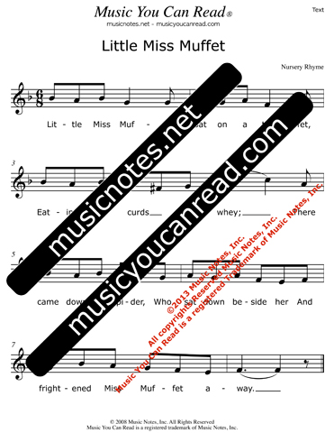 """Little Miss Muffet"" Lyrics, Text Format"