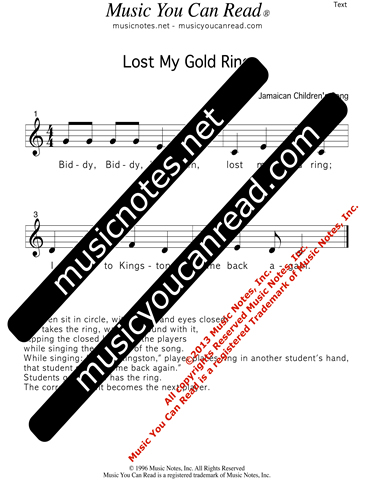 """Lost My Gold Ring"" Lyrics, Text Format"