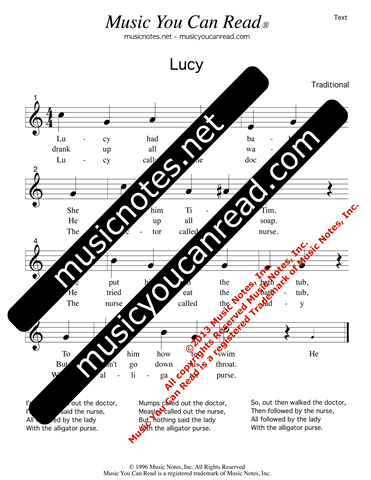 """Lucy"" Lyrics, Text Format"