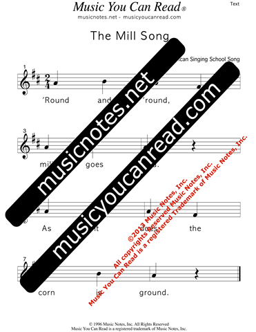 """The Mill Song"" Lyrics, Text Format"