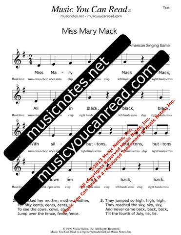 """Miss Mary Mack"" Lyrics, Text Format"