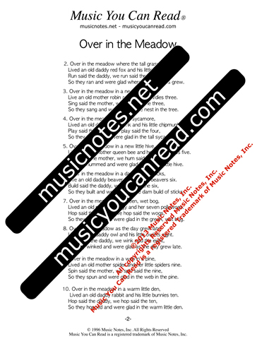 """Over in the Meadow"" lyrics, Text Format page 2"