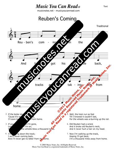 """Reuben's Coming"" Lyrics, Text Format"