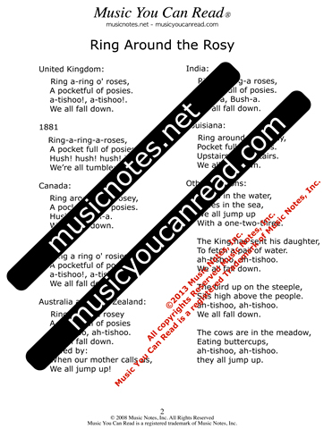 """Ring Around the Rosy"" lyrics, Text Format page 2"