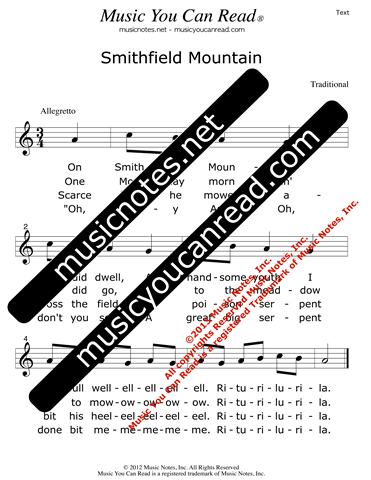 """Smithfield Mountain"" Lyrics, Text Format"
