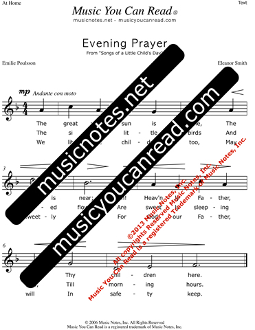 """Evening Prayer"" Lyrics, Text Format"