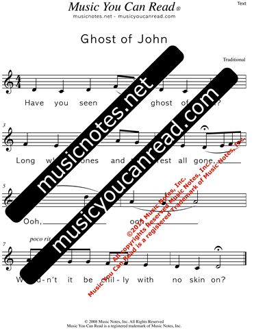 """Ghost of John"" Lyrics, Text Format"