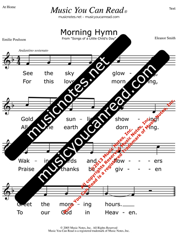 """Morning Hymn"" Lyrics, Text Format"
