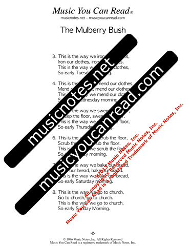 """The Mulberry Bush"" lyrics, Text Format page 2"