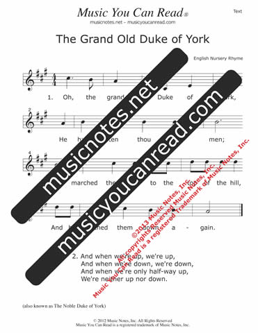 """The Grand Old Duke of York"" Lyrics, Text Format"