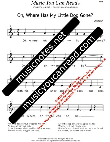 """Oh, Where Has My Little Dog Gone?"" Lyrics, Text Format"