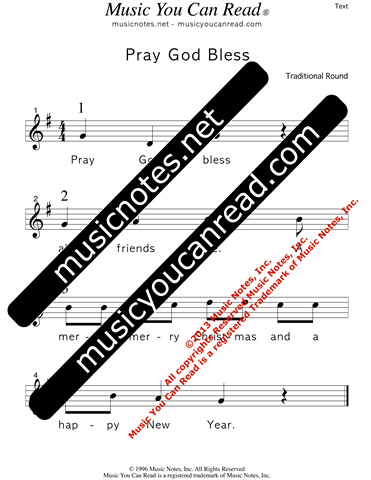 """Pray God Bless"" Lyrics, Text Format"