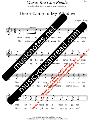 """There Came to My Window"" Lyrics, Text Format"