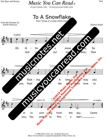 """To a Snowflake"" Lyrics, Text Format"