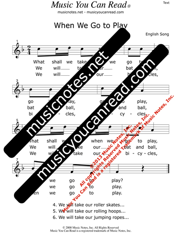 """When We Go To Play"" Lyrics, Text Format"