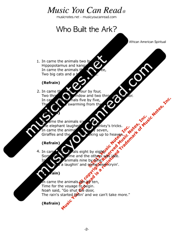 """Who Built the Ark?"" Lyrics, Text Format"