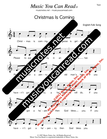 """Christmas Is Coming"" Lyrics, Text Format"