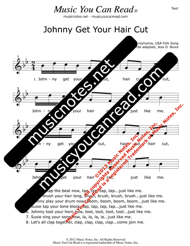 """Johnny Get Your Hair Cut"" Lyrics, Text Format"