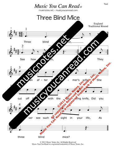 """Three Blind Mice"" Lyrics, Text Format"
