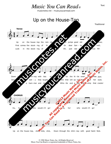 """Up On the House-Top"" Lyrics, Text Format"