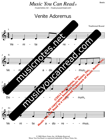 """Venite Adoremus"" Lyrics, Text Format"