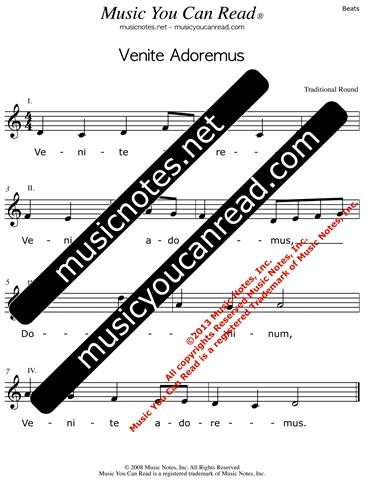 Venite Adoremus Lyrics Music Notes Inc Music You Can Read Kodaly Orff Solfeggio Solfege Elementary Music Literacy Curriculum Third Grade Children S Songs