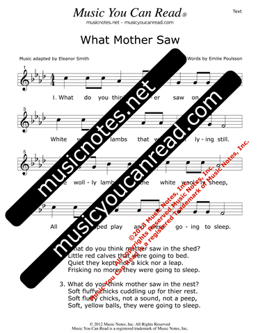 """What Mother Saw"" Lyrics, Text Format"