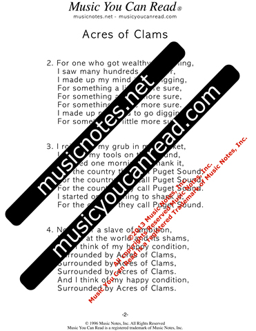 """Acres of Clams"" Lyrics, Text Format"